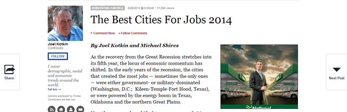 Forbes Names Austin, TX Third Best Metro Area for Job Growth
